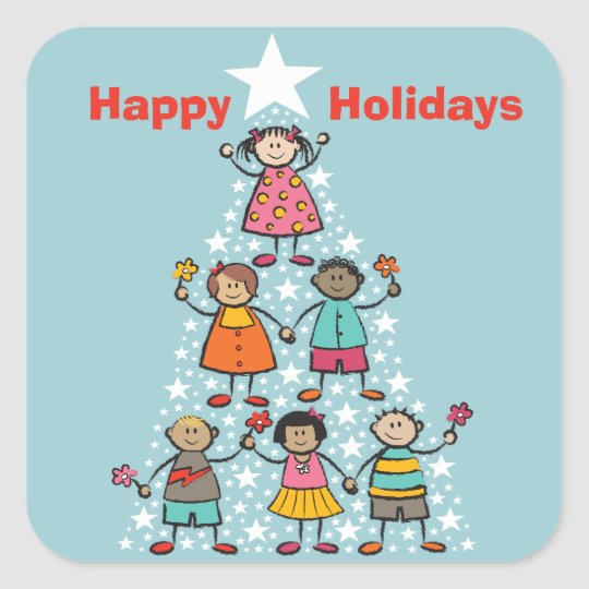 Cute Christmas Tree Kids Happy Holidays Sticker