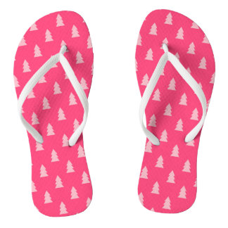 Cute Christmas tree pattern pastel and hot pink Flip Flops