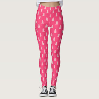 Cute Christmas tree pattern pastel and hot pink Leggings