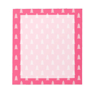 Cute Christmas tree pattern pastel and hot pink Notepad