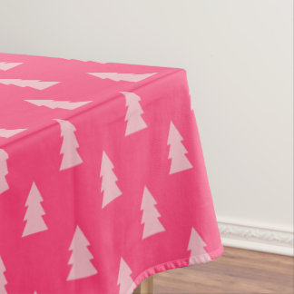 Cute Christmas tree pattern pastel and hot pink Tablecloth