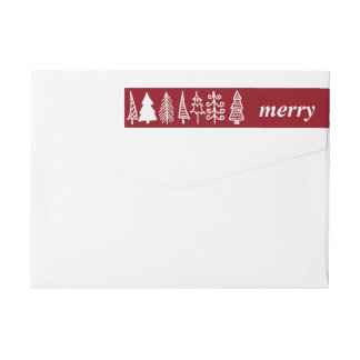 Cute Christmas Trees Merry Script Red Holiday Wraparound Return Address Label