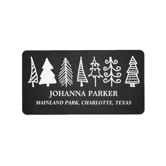 Cute Christmas Trees Vintage Chalkboard Holiday Label