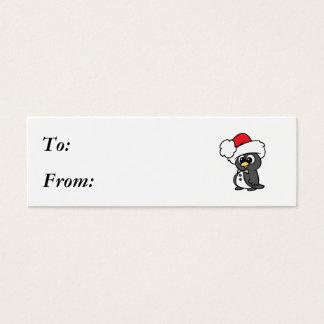 Cute Christmas Tuxedo Penguin Mini Business Card