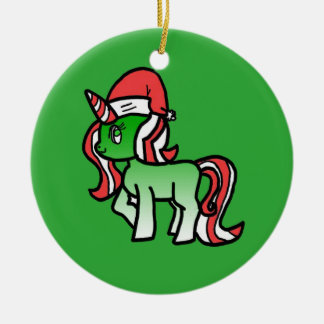 Cute Christmas Unicorn Ornament - Green Background