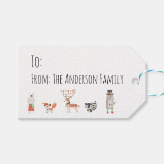 Cute Christmas Woodland Animals Gift Tags