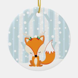 Cute Christmas Woodland Fox Ceramic Ornament