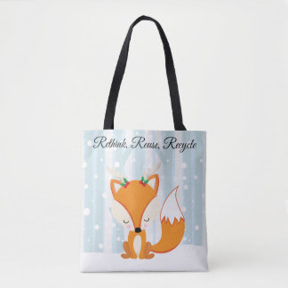 Cute Christmas Woodland Fox Tote Bag