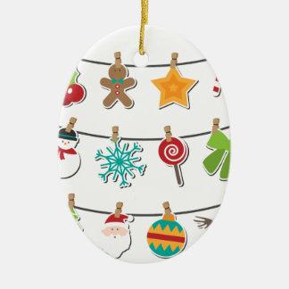 Cute Christmas Xmas Hanging Decoration Ceramic Oval Ornament