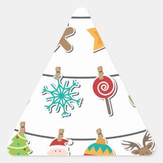 Cute Christmas Xmas Hanging Decoration Triangle Sticker