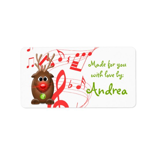 Cute Christmas Xmas Reindeer Gift Tag Sticker