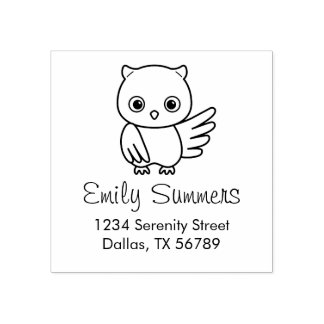 Cute Chubby Owl Address Rubber Stamp