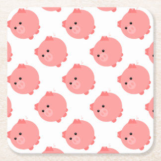Cute Chubby Pig Party Plates Square Paper Coaster