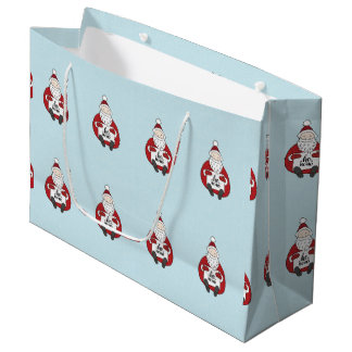 Cute chubby santa drawing large gift bag