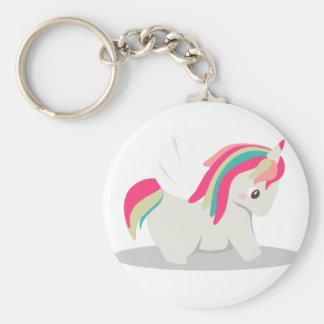 Cute chubby unicorn chibi blushing basic round button keychain