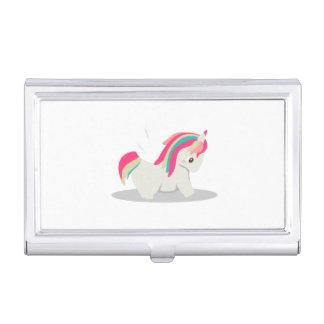 Cute chubby unicorn chibi blushing business card holder