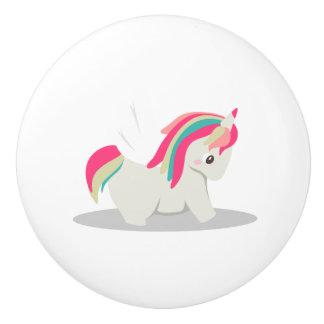 Cute chubby unicorn chibi blushing ceramic knob