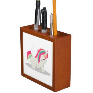 Cute chubby unicorn chibi blushing desk organizer