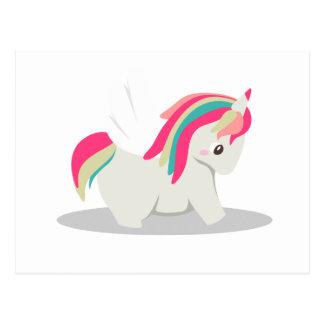 Cute chubby unicorn chibi blushing postcard