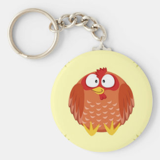 Cute circle chicken hen keychain
