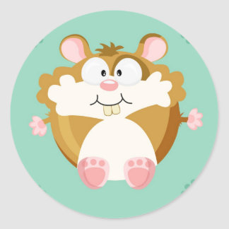 Cute circle hamster classic round sticker
