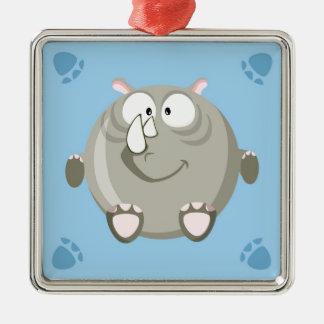 Cute circle rhino Silver-Colored square ornament