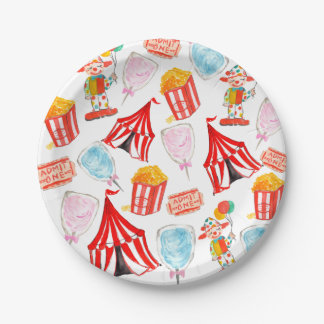 Cute circus carnival children party paper plates