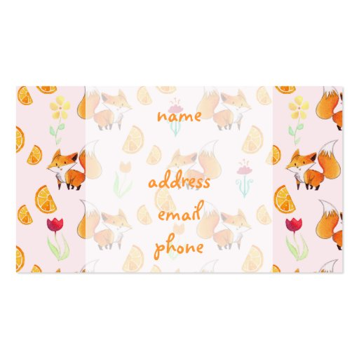 Cute Citrus Fox Pattern Business Cards