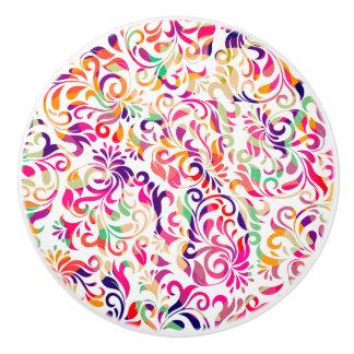 Cute classic colorful flowers pattern ceramic knob