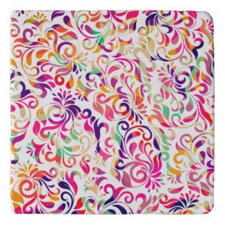 Cute classic colorful flowers pattern trivet