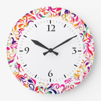 Cute classic colorful flowers pattern wallclock