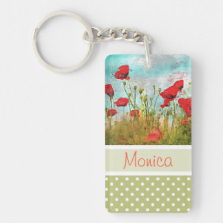 Cute Classic Poppy Flowers Meadow Field Watercolor Keychain