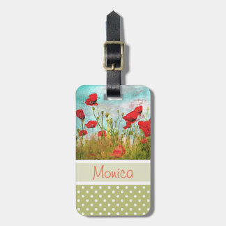 Cute Classic Poppy Flowers Meadow Field Watercolor Luggage Tag