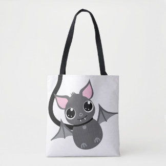 Cute Clever Pet Bat On Leash Tote Bag