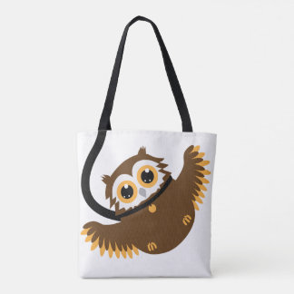 Cute Clever Pet Owl On Leash Tote Bag