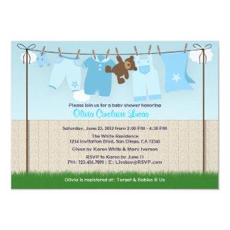 Cute Clothesline Baby Boy Modern Baby Shower Card