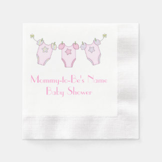 Cute Clothesline Baby Shower - Pink Napkins Paper Napkin