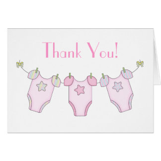 Cute Clothesline Baby Shower Thank You Card - Pink