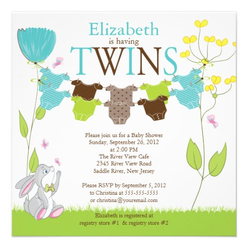 Cute clothesline multiple baby shower invitations