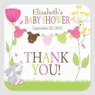 Cute Clotheslines Baby Girl Baby Shower Sticker