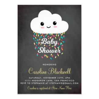 Cute Cloud & Confetti | Chalkboard Baby Shower Card