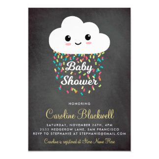 Cute Cloud & Confetti | Chalkboard Baby Shower Magnetic Card