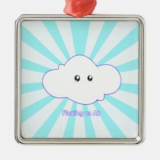 Cute Cloud Silver-Colored Square Ornament