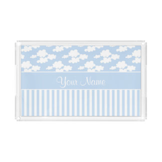 Cute Clouds and Stripes Acrylic Tray