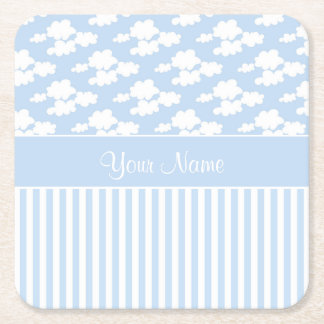 Cute Clouds and Stripes Square Paper Coaster