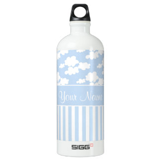 Cute Clouds and Stripes Water Bottle
