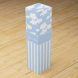 Cute Clouds and Stripes Wine Gift Box