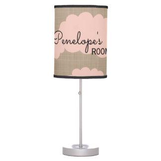 Cute Cloud's Pink and Brown Nursery Table Lamp