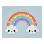 Cute Clouds with Rainbow Poster