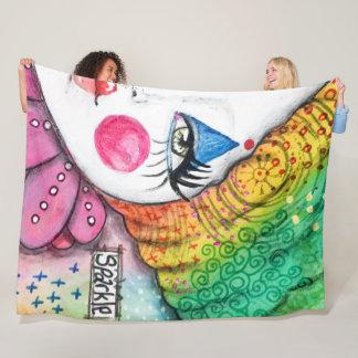 Cute Clown Bright Colorful Rainbow Sparkle Fleece Blanket